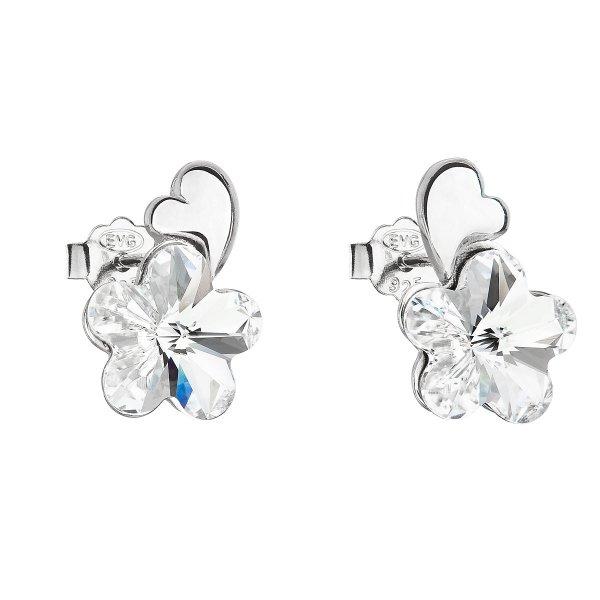 Stříbrné náušnice pecka s krystaly Swarovski bílá kytička 31263.1 31263.1