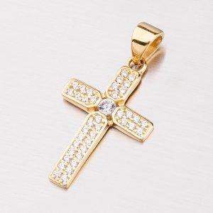 Zlatý křížek se zirkony 142-0601