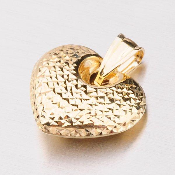 Zlaté srdíčko s hladkým povrchem a facetami 142-0829