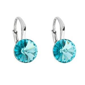 Stříbrné náušnice visací s krystaly Swarovski modré kulaté 31229.3 light turquoise 31229.3