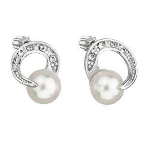 Stříbrné náušnice pecka s perlou Swarovski bílé kulaté 31239.1 31239.1