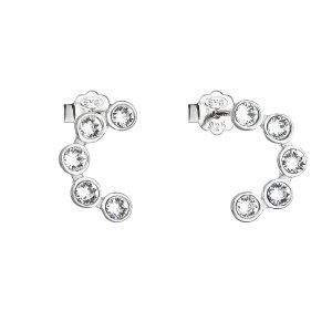 Stříbrné náušnice pecka s krystaly Swarovski bílý půlkruh 31258.1 31258.1