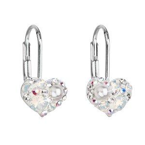 Stříbrné náušnice visací s krystaly Swarovski bílé srdce 31125.9 31125.9