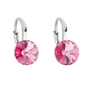 Stříbrné náušnice visací s krystaly Swarovski růžové kulaté 31229.3 31229.3