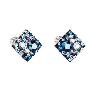Stříbrné náušnice pecka s krystaly Swarovski modrý kosočtverec 31169.3 blue style 31169.3