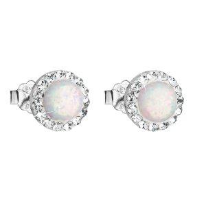 Stříbrné náušnice pecky se syntetickým opálem a krystaly Swarovski bílé kulaté 31217.1 31217.1