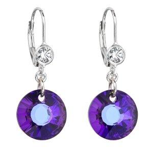 Stříbrné náušnice visací s krystaly Swarovski fialové kulaté 31211.5 heliotrope 31211.5