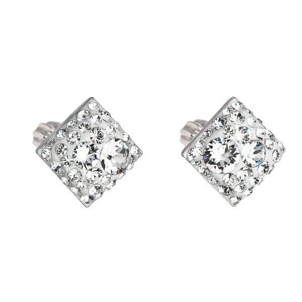 Stříbrné náušnice pecka s krystaly Swarovski bílý kosočtverec 31169.1 31169.1 KRYSTAL