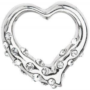 Stříbrný přívěsek s krystaly Swarovski bílé srdce 34213.1 34213.1