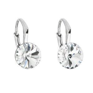 Stříbrné náušnice visací s krystaly Swarovski bílé kulaté 31229.1 31229.1