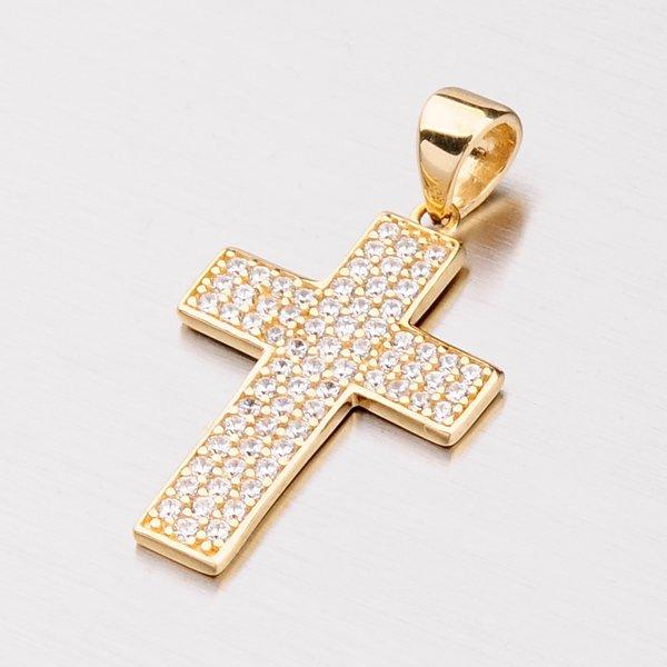 Zlatý přívěsek ve tvaru kříže se zirkony 142-1063