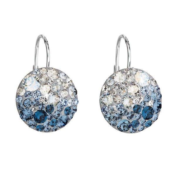 Stříbrné náušnice visací s krystaly Swarovski modré kulaté 31176.3 ice blue 31176.3