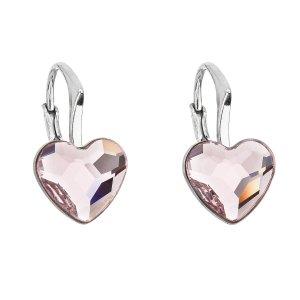 Stříbrné náušnice visací s krystaly Swarovski růžové srdce 31240.3 31240.3
