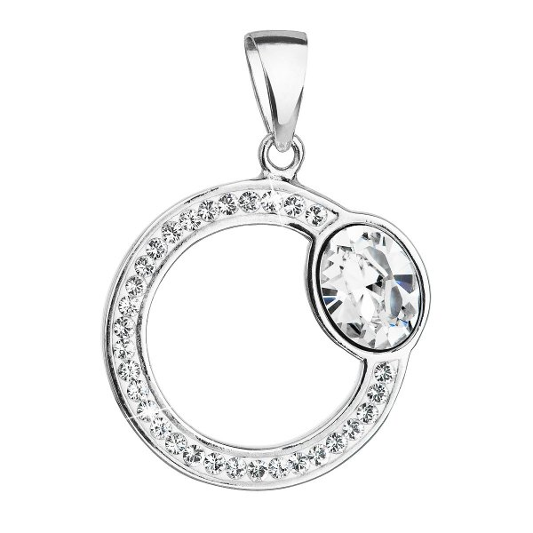 Stříbrný přívěsek s krystaly Swarovski bílý kruh 34215.1 34215.1