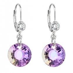Stříbrné náušnice visací s krystaly Swarovski fialové kulaté 31211.5 31211.5