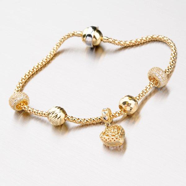 Náramek ze zlata s přívěsky 14-001-08