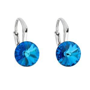 Stříbrné náušnice visací s krystaly Swarovski modré kulaté 31229.5 31229.5