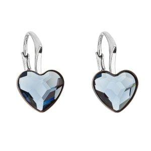 Stříbrné náušnice visací s krystaly Swarovski modré srdce 31240.3 31240.3