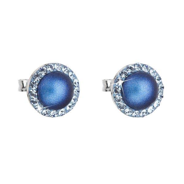 Stříbrné náušnice pecka s krystaly Swarovski a tmavěmodrou matnou perlou kulaté 31214.3 31214.3