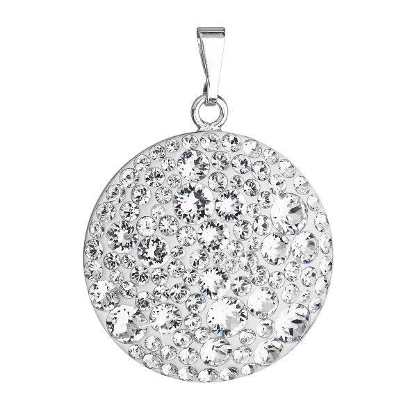 Stříbrný přívěsek s krystaly Swarovski bílý kulatý 34131.1 34131.1 KRYSTAL