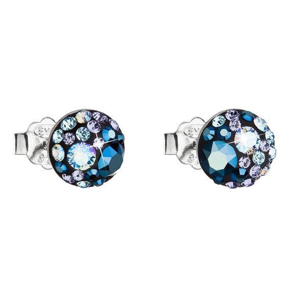 Stříbrné náušnice pecka s krystaly Swarovski modré kulaté 31136.3 blue style 31136.3