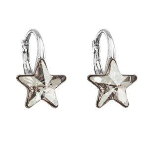 Stříbrné náušnice visací s krystaly Swarovski šedá hvězdička 31227.5 31227.5