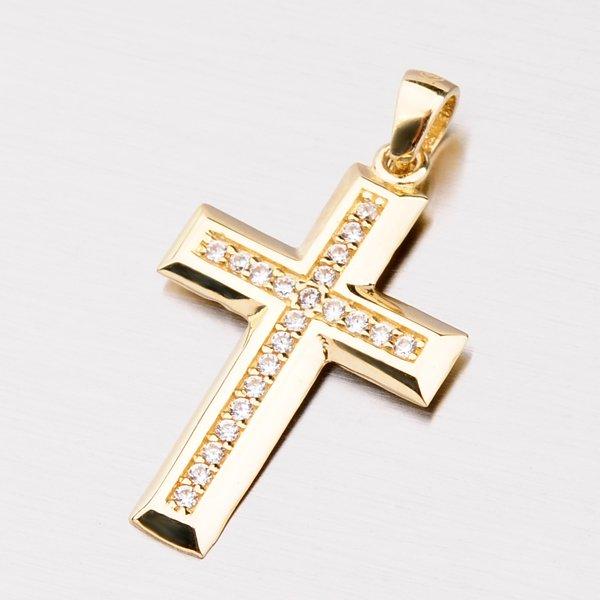Zlatý křížek se zirkony 112-8029