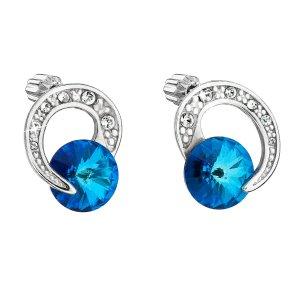 Stříbrné náušnice pecka s krystaly Swarovski modré kulaté 31239.5 31239.5