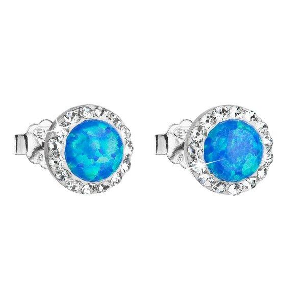 Stříbrné náušnice pecky se syntetickým opálem a krystaly Swarovski modré kulaté 31217.1 31217.1