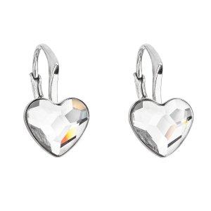Stříbrné náušnice visací s krystaly Swarovski bílé srdce 31240.1 31240.1