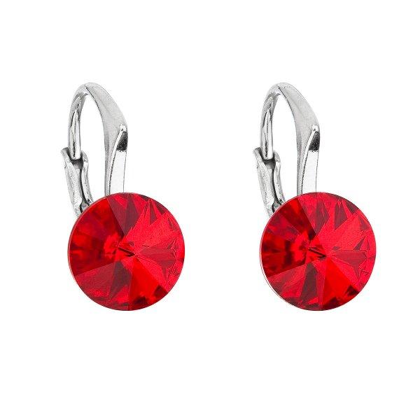 Stříbrné náušnice visací s krystaly Swarovski červené kulaté 31229.3 31229.3