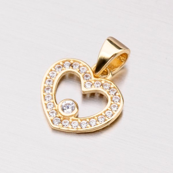 Zlatý přívěsek srdce se zirkony 142-0874