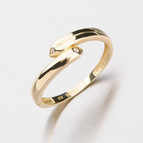 Zlatý prsten se zirkony 111-0557