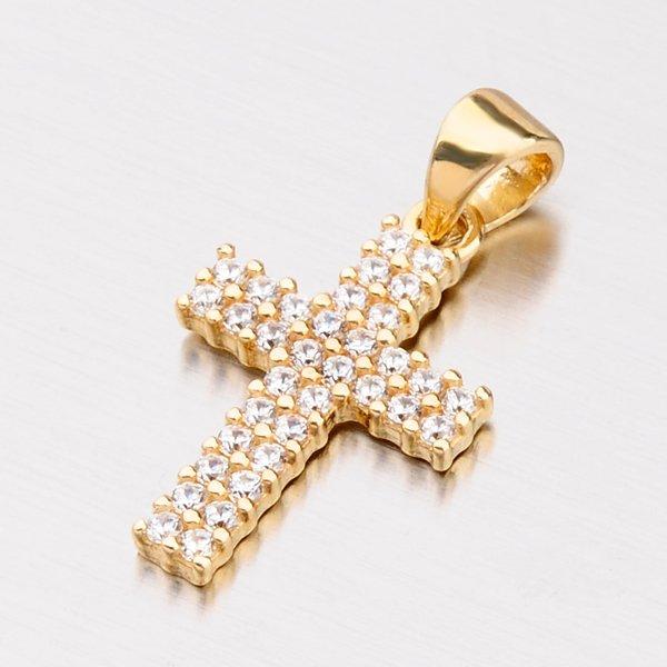 Zlatý přívěsek ve tvaru kříže se zirkony 142-1062