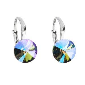 Stříbrné náušnice visací s krystaly Swarovski fialové kulaté 31229.5 31229.5