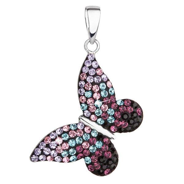 Stříbrný přívěsek s krystaly Swarovski mix barev motýl 34192.3 magic violet 34192.3 MAGIC VIOLET