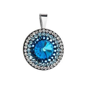 Stříbrný přívěsek s krystaly Swarovski modré kulatý-rivoli 34207.5 34207.5