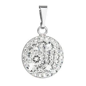 Stříbrný přívěsek s krystaly Swarovski bílý kulatý 34225.1 34225.1
