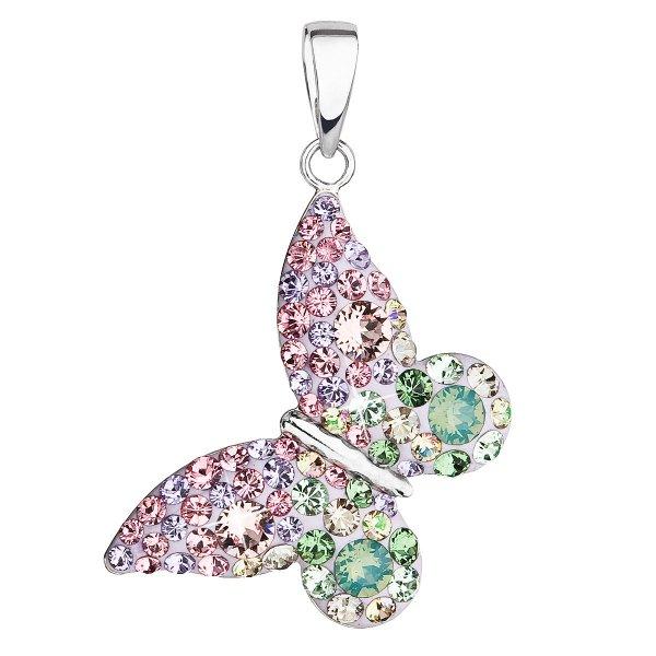 Stříbrný přívěsek s krystaly Swarovski mix barev motýl 34192.3 sakura 34192.3 SAKURA