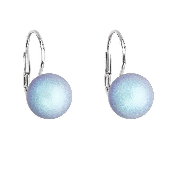 Stříbrné náušnice visací se světlemodrou matnou Swarovski perlou 31143.3 31143.3