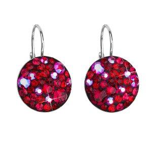 Stříbrné náušnice visací s krystaly Swarovski červené kulaté 31183.3 cherry 31183.3