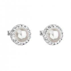 Stříbrné náušnice pecka s krystaly Swarovski a bílou perlou kulaté 31214.1 31214.1