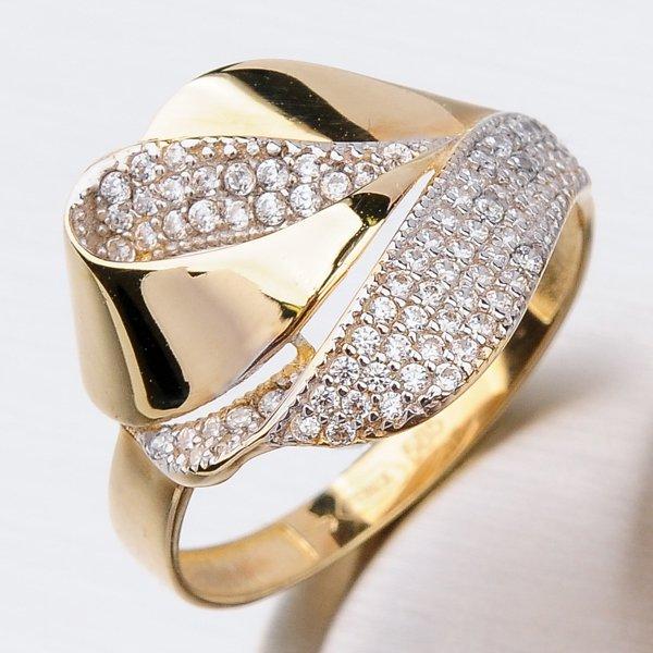 Zlatý prsten se zirkony 41-NY156