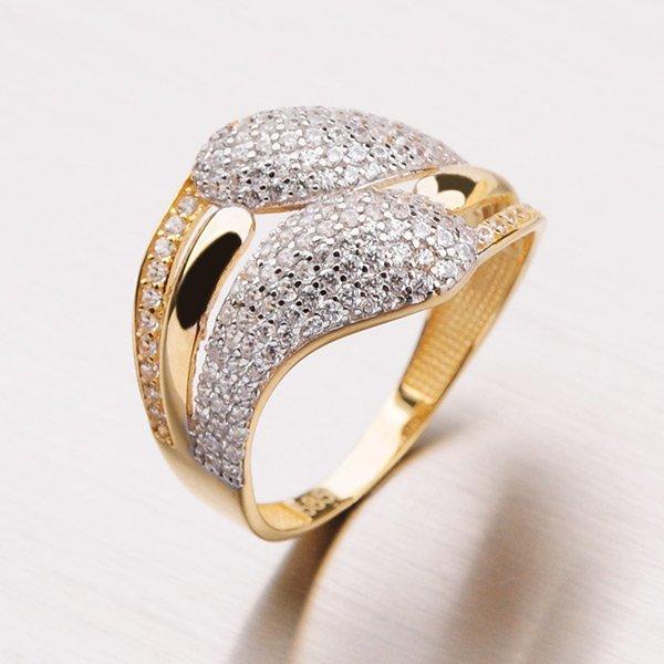 Zlatý prsten se zirkony 11-142