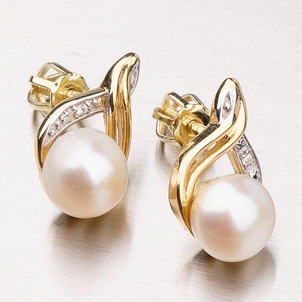 Náušnice s perlou a zirkony 42-31978