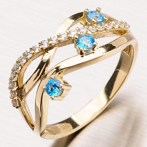 Zlatý prsten se zirkony 11-171