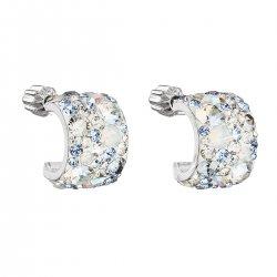 Stříbrné náušnice visací s krystaly Swarovski modrý půlkruh 31280.3 light sapphire 31280.3