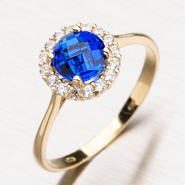 Prsten se safírem ze žlutého zlata 11-182