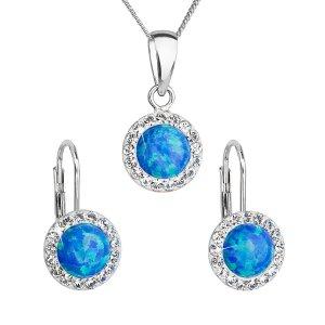 Sada šperků se syntetickým opálem a krystaly Swarovski náušnice a přívěšek modré kulaté 39160.1 39160.1