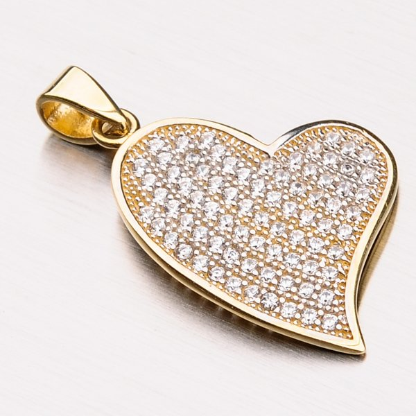 Zlaté srdce se zirkony 13-198